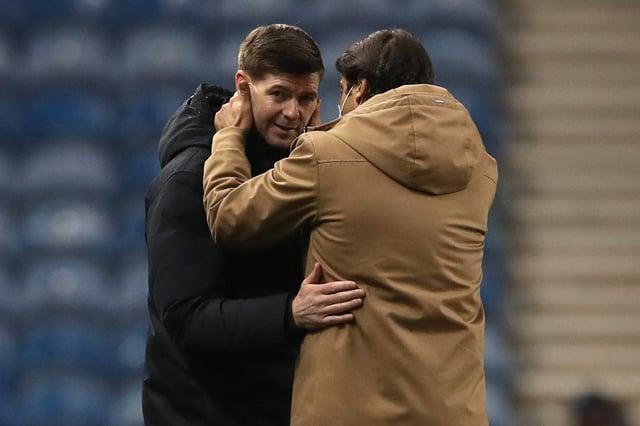 Rui Costa speaks to Steven Gerrard at full-time.