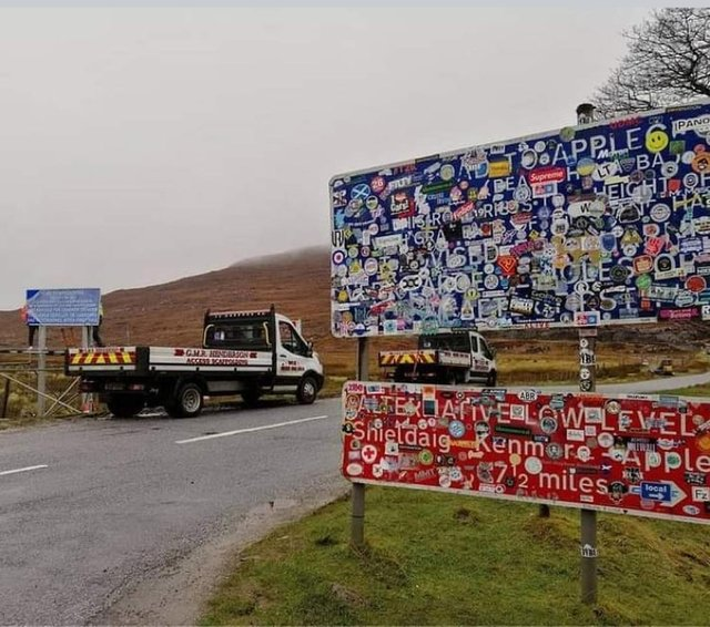 The defaced road sign at the Bealach na Bà which has now been acquired by Applecross Heritage Centre. PIC: Contributed.