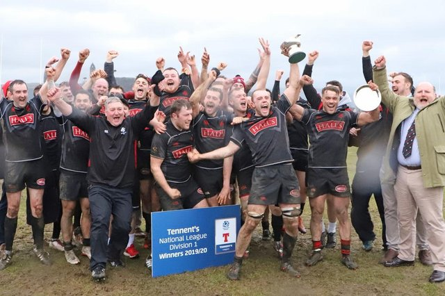 Biggar celebrate their National League Division 1 title triumph. The season was later voided.