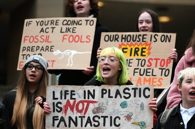 Young people take part in a climate strike in Glasgow last year (Picture: John Devlin)
