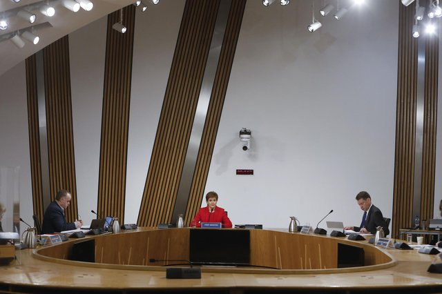 First Minister Nicola Sturgeon before giving evidence to the Committee on the Scottish Government Handling of Harassment Complaints, at Holyrood in Edinburgh. Picture: Andrew Cowan/Scottish Parliament/PA Wire