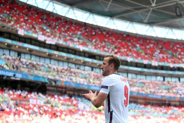 England striker Harry Kane during the match at Wembley Stadium. Picture: SNS