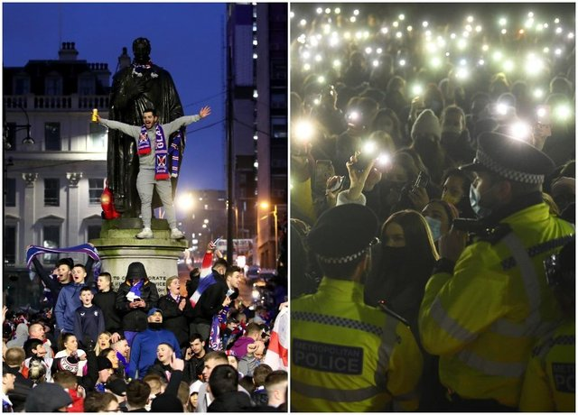Left: Rangers fans celebrate in George Square on Sunday March 7 after Rangers win the Scottish Premiership title. Right: People turn phone torches on in Clapham Common in London on March 13 after a Reclaim These Streets vigil for Sarah Everard was officially cancelled. Picture: PA