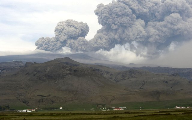 In 2010, ash clouds from the Eyjafjoell volcano in Iceland grounded air traffic across much of western Europe (Picture: Halldor Kolbeins/AFP via Getty Images)