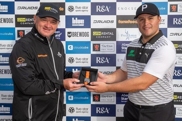 Tartan Tour Pro founder Paul Lawrie with Neil Fenwick, who topped the schedule's order of merit last year and earned a spot in the Aberdeen Standard Investments Scottish Open in the process. Picture: Tartan Pro Tour
