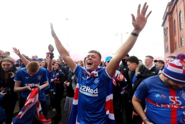 Rangers fans took to the streets after the team won the league.