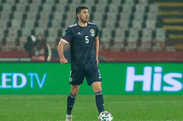 Declan Gallagher in action v Serbia in November when Scotland sealed their Euro 2020 place  (Photo by Nikola Krstic / SNS Group)