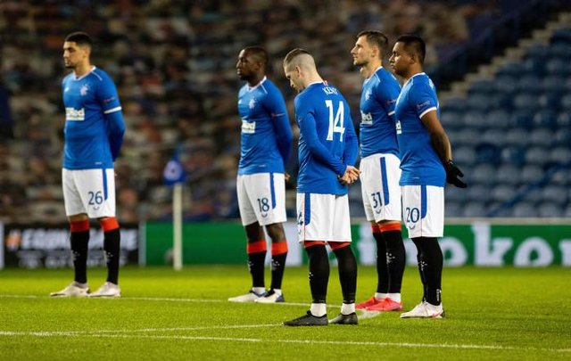 Rangers held a minute of silence for Diego Maradona pre-match
