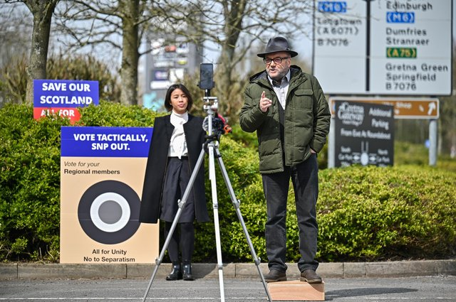 George Galloway, leader of the All For Unity Party, campaigns during the Scottish Parliament election with a speech at the Gretna Gateway Outlet. Picture: Jeff J Mitchell/Getty Images
