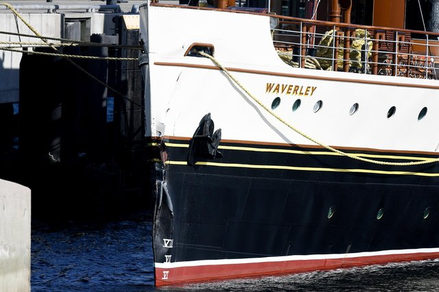 Damage to Waverley's bows visible today. Picture: Jeff J Mitchell/Getty Images