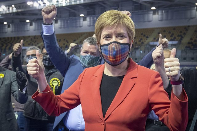 First Minister and SNP party leader Nicola Sturgeon celebrates after retaining her seat for Glasgow Southside. Photo: Jane Barlow/PA Wire