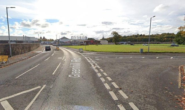 Themotorcyclist was hit by a blue car on Greenhill Road near the junction with Drums Avenuein Paisley (Photo: Google Maps).