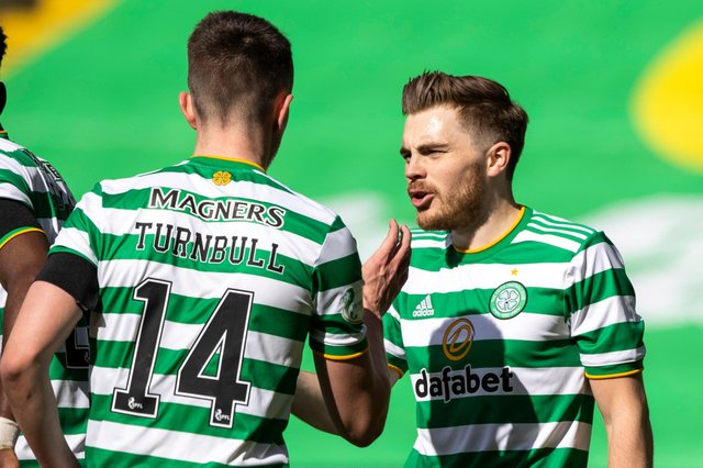 GLASGOW, SCOTLAND - APRIL 10: Celtic's David Turnbull celebrates his goal to make it 2-0 with James Forrest  during the Scottish Premiership match between Celtic and Livingston at Celtic Park, on April 10, 2021, in Glasgow, Scotland. (Photo by Craig Williamson / SNS Group)
