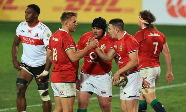 Zander Fagerson, centre, will start for the British & Irish Lions against Sharks after coming off the bench against the Sigma Lions at the weekend. Picture: David Rogers/Getty Images