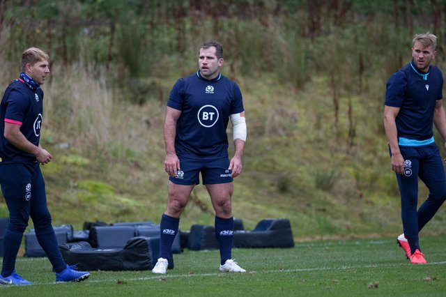 Fraser Brown, centre, prepares for the Georgia game during a training session at Oriam. Picture: Craig Williamson/SNS
