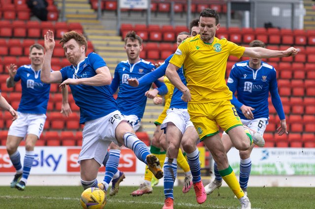 Hibs' Paul McGinn and St Johnstone's Liam Craig in action during Saturday's league match at McDiarmid Park. Photo by Alan Harvey / SNS Group