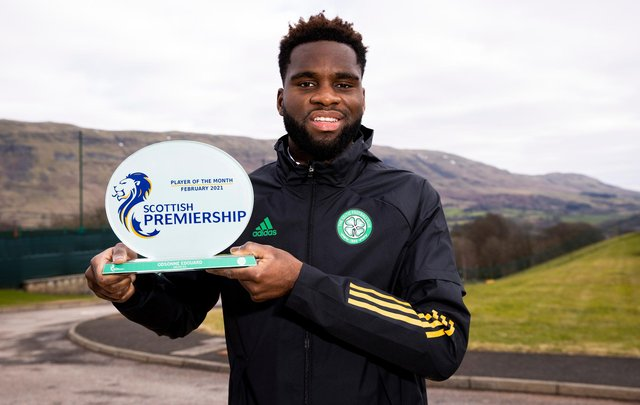 Celtic striker Odsonne Edouard pictured with his Scottish Premiership player of the month award for February at the club's Lennoxtown training ground on Friday. (Photo by Craig Williamson / SNS Group)