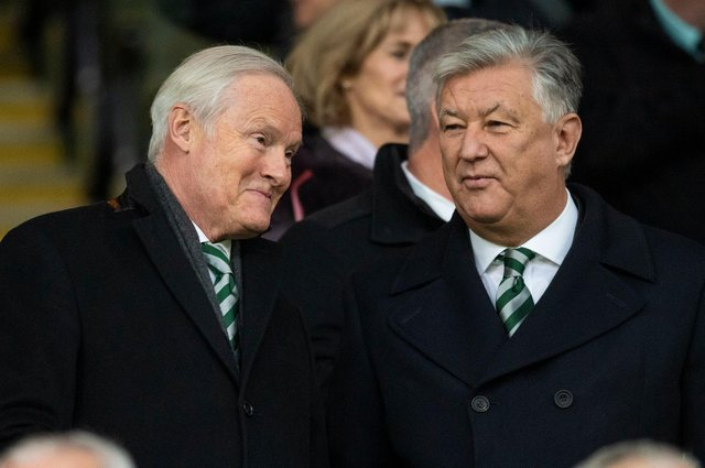 Celtic chairman Ian Bankier with outgoing chief executive Peter Lawwell. Picture: SNS