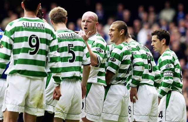 John Hartson, Henrik Larsson, April 27, 2003. (Photo by Jamie McDonald/Getty Images)