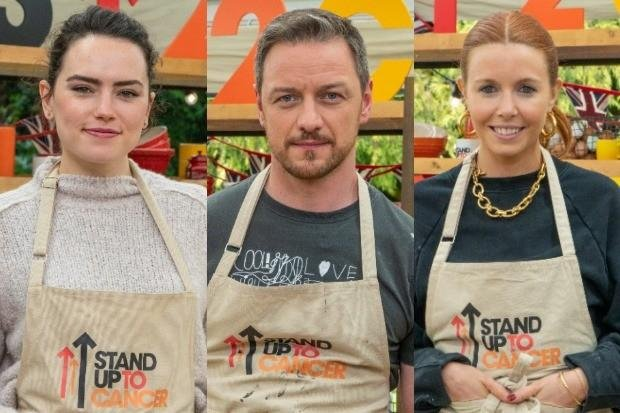 Daisy Ridley, James McAvoy and Stacey Dooley are among the Celebrity Bake Off stars for 2021. Photo: Channel 4.