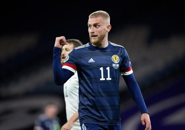Oli McBurnie in action for Scotland  during a Euro 2020 Play off match between Scotland and Israel at Hampden Park, on October 08 2020, in Glasgow, Scotland (Photo by Craig Williamson / SNS Group)