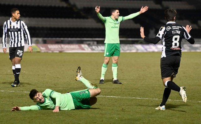 Greg Taylor won his side a penalty in the 4-0 win over St Mirren. Picture: SNS