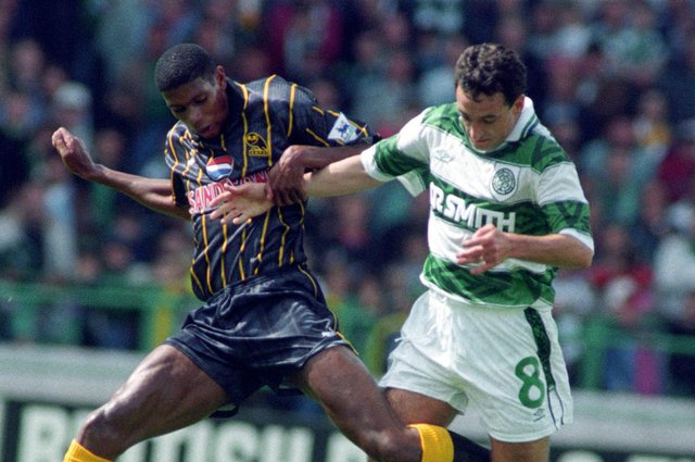 Paul McStay (right) battles for the ball with Carlton Palmer during a pre-season friendly between Celtic and Sheffield Wednesday in July, 1993. Picture: SNS
