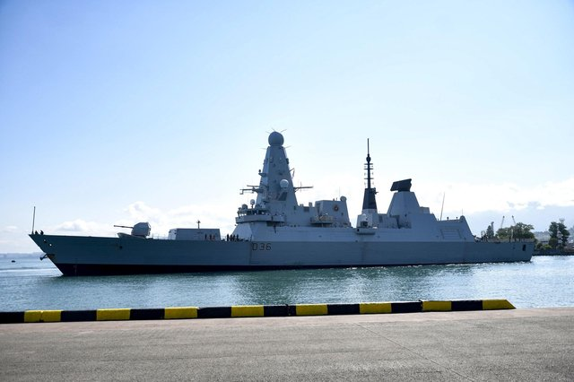 British destroyer HMS Defender arrives at the port of Batumi, in Georgia, on Saturday (Picture: Vasil Gedenidze/British Embassy in Georgia via AP)