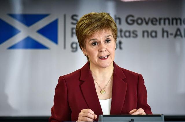 First Minister Nicola Sturgeon speaking at a coronavirus briefing at St Andrews House in Edinburgh.