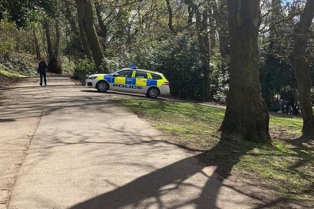 A police van was also seen in Queens Park, Glasgow.