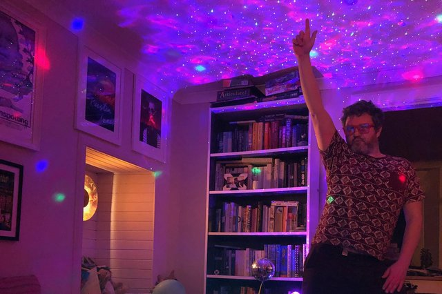Alan Bissett gets his disco lights and groove on for his online 'hoose perties.'