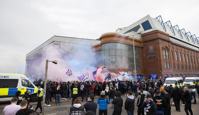 Rangers fans pre match during a Scottish Premiership match between Rangers and St Mirren at Ibrox Stadium, on March 06, 2021, in Glasgow, Scotland. (Photo by Craig Williamson / SNS Group)