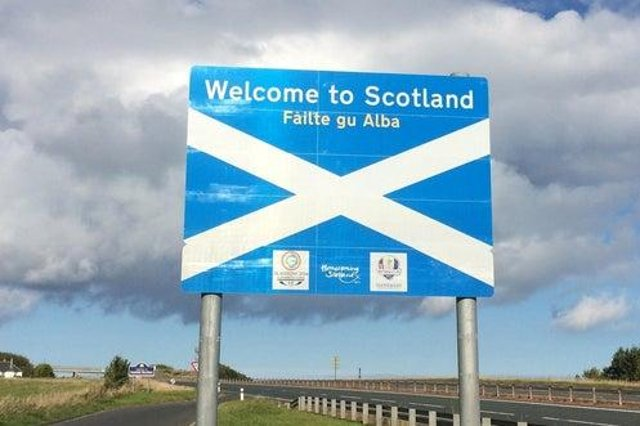 The Scottish border was the scene of the protests yesterday