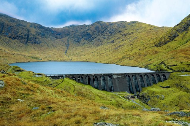 Cruachan Dam in Argyll holds back enough water to fil 4,440 Olympic-sized swimming pools.