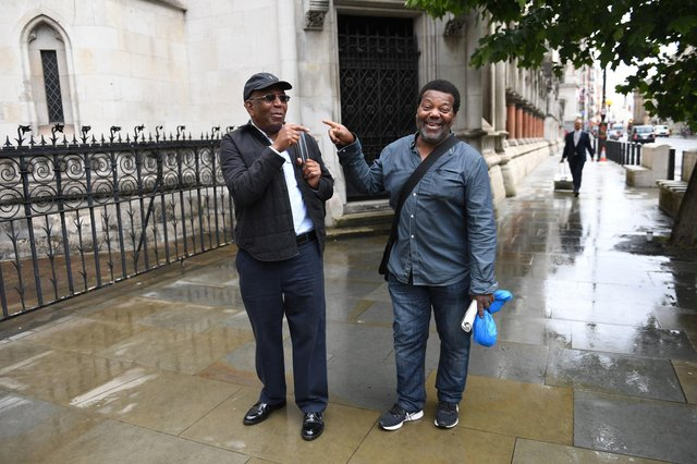 Paul Green (left) and Cleveland Davidson outside the Royal Courts of Justice in London. The pair along with Courtney Harriot, were jailed for allegedly attempting to rob a corrupt police officer nearly 50 years ago have finally had their convictions overturned by the Court of Appeal (Photo: Stefan Rousseau/PA Wire).