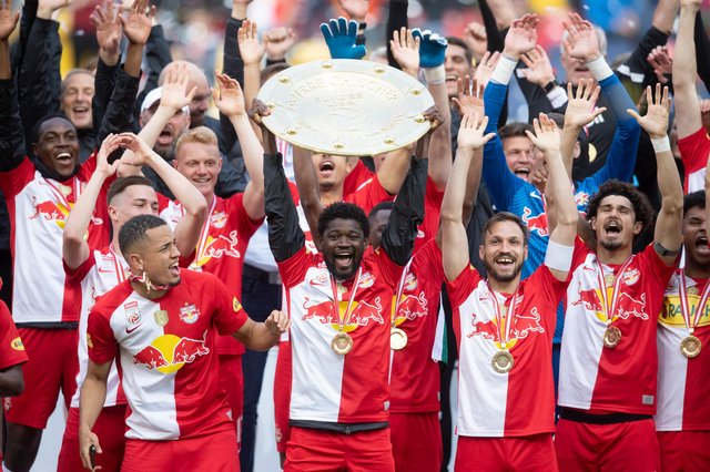RB Salzburg, pictured on Saturday after collecting the Austrian Bundesliga trophy for an eighth consecutive season, will be the highest ranked opponents Rangers could face in the Champions League play-off round. (Photo by Andreas Schaad/Getty Images)