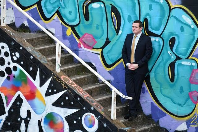 Scottish Conservative leader Douglas Ross on the election campaign trail. Picture: John Devlin