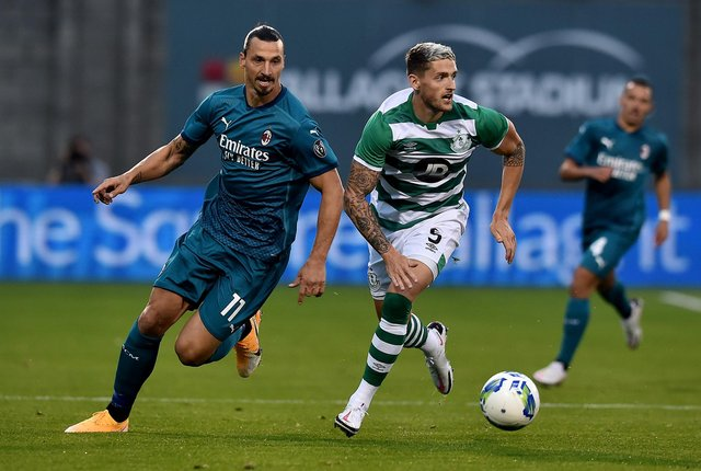 Zlatan Ibrahimovic, seen here in the qualifying round win over Shamrock Rovers, is due in Glasgow with AC Milan this week. (Photo by Charles McQuillan/Getty Images)