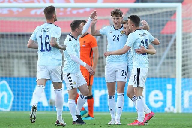 Scotland celebrate Jack Hendry's opener against Netherlands at Estadio Algarve, Portugal. (Photo by Fran Santiago/Getty Images)