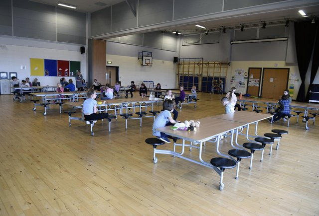 Children at a hub at Juniper Green Primary School, Edinburgh, being used for key worker children to attend. Picture: Lisa Ferguson.