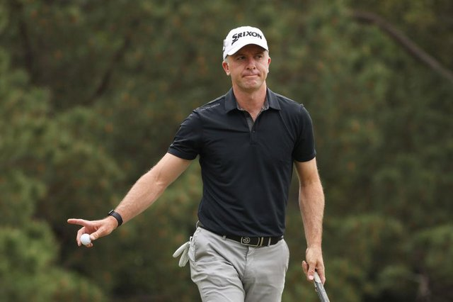 Martin Laird reacts after making a birdie on the first green during the third round of the Masters at Augusta National Golf Club. Picture: Kevin C. Cox/Getty Images.