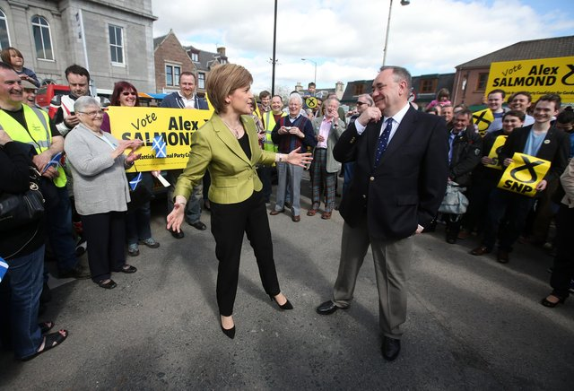 First Minister Nicola Sturgeon with Alex Salmond, who has challenged the Lord Advocate to explain the Crown's intervention around his evidence on Tuesday