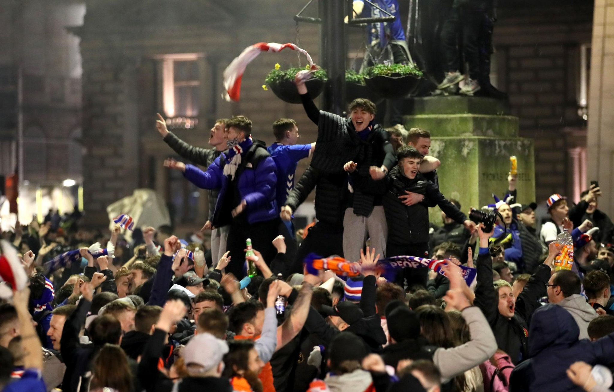 Search for families linked to Glasgow memorial benches smashed up in Rangers victory celebrations