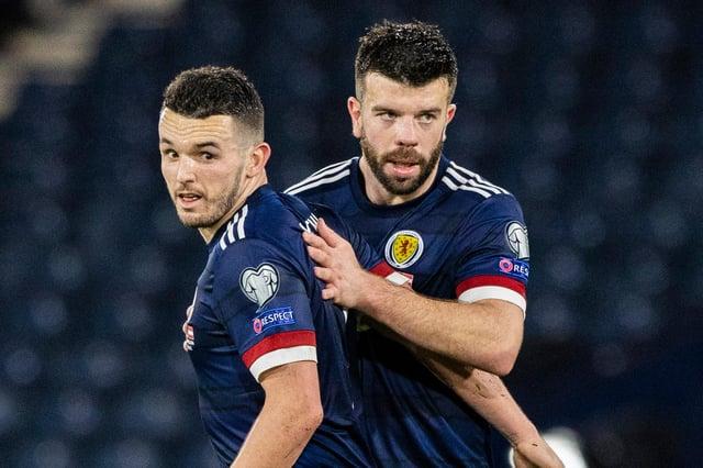 Goalscorers John McGinn and Grant Hanley at full time