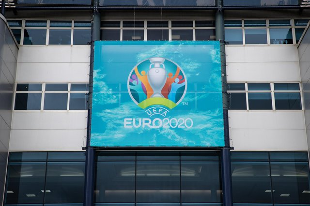 A general view of Euro 2020 branding on display at Hampden Park. Picture: SNS Group