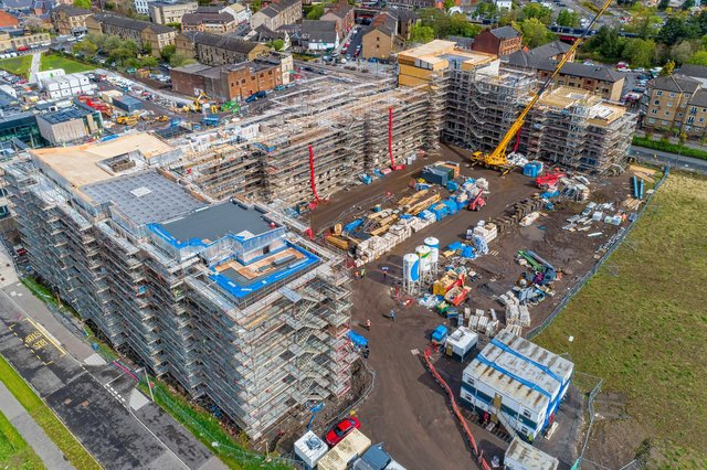 Construction work continues on 146 new homes at Queens Quay, Clydebank.