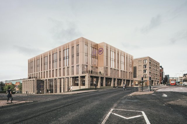 A CGI impression of how the new BT contact centre base in the heart of Dundee will look.