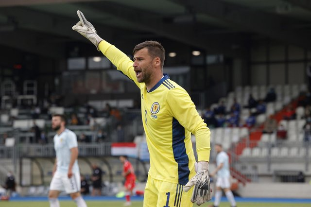 Scotland's goalkeeper David Marshall reacts during the international friendly soccer match between Luxembourg and Scotland. Picture: AP Photo/Olivier Matthys