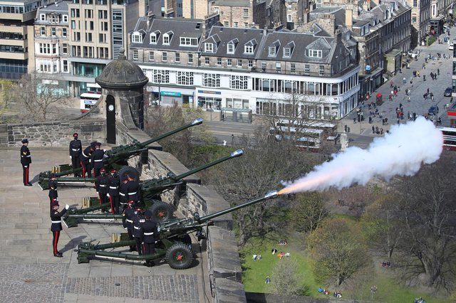 Members of the 105th Regiment Royal Artillery fire a 41-round gun salute at Edinburgh Castle, to mark the death of the Duke of Edinburgh.