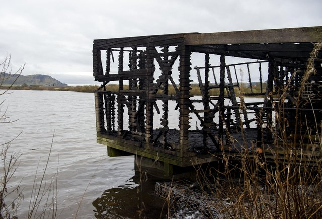 Mill Hide at Loch Leven National Nature Reserve after the blaze.